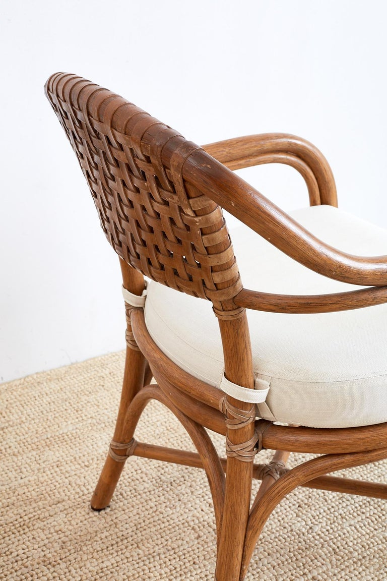 Pair of McGuire Bamboo and Woven Leather Armchairs 3