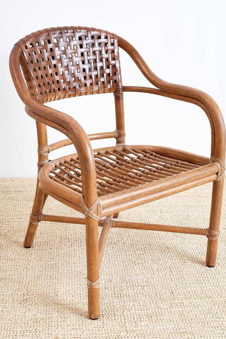 Pair of McGuire Bamboo and Woven Leather Armchairs 4