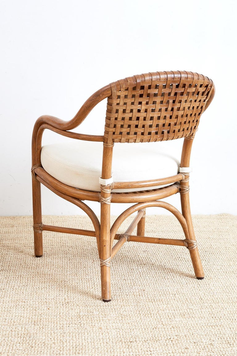 Pair of McGuire Bamboo and Woven Leather Armchairs For Sale 7