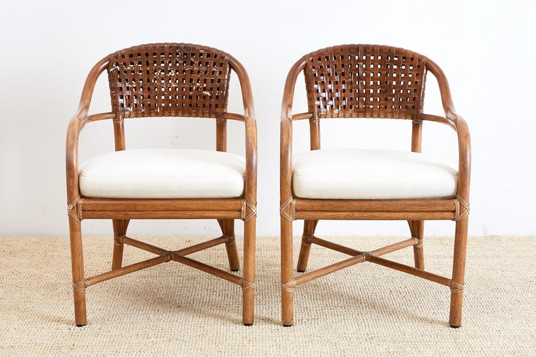 Organic Modern Pair of McGuire Bamboo and Woven Leather Armchairs For Sale
