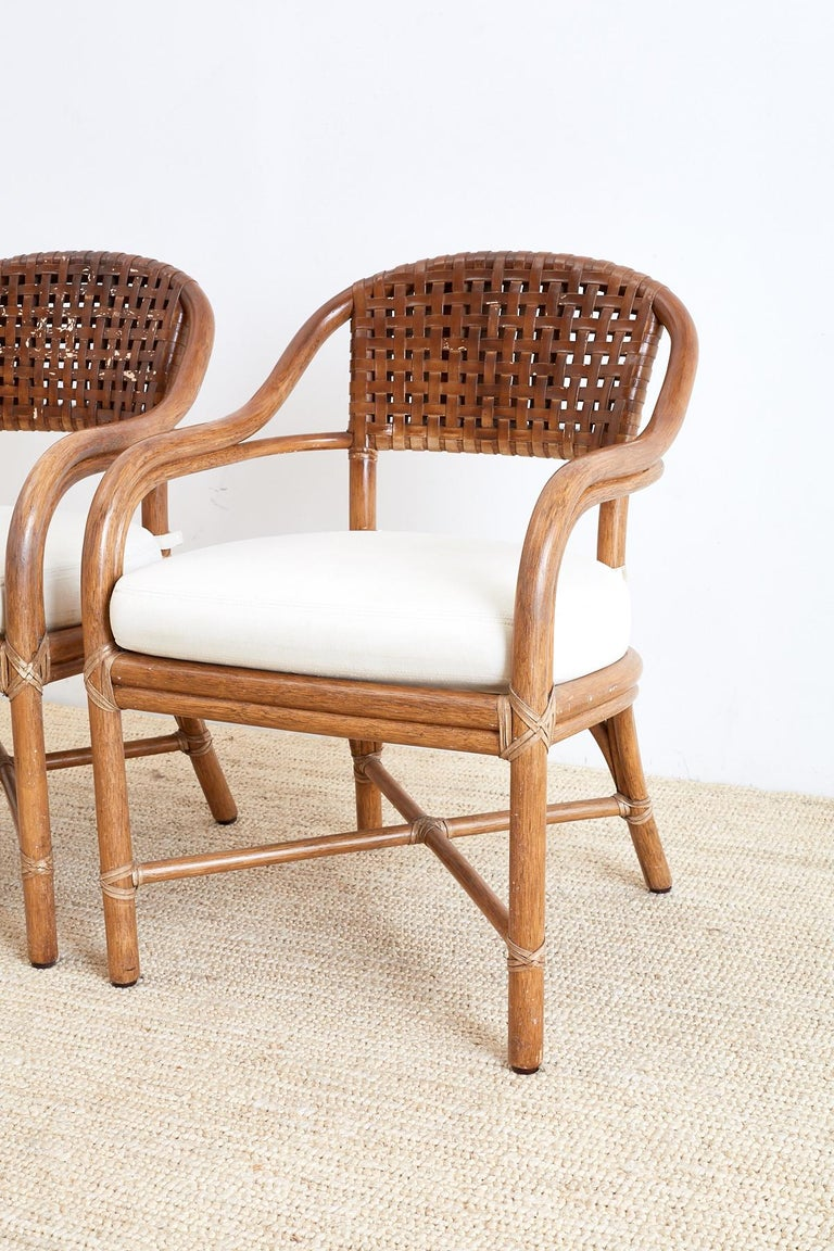 Pair of McGuire Bamboo and Woven Leather Armchairs In Good Condition For Sale In Oakland, CA