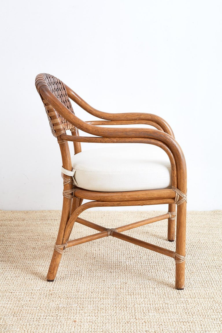 Pair of McGuire Bamboo and Woven Leather Armchairs For Sale 1