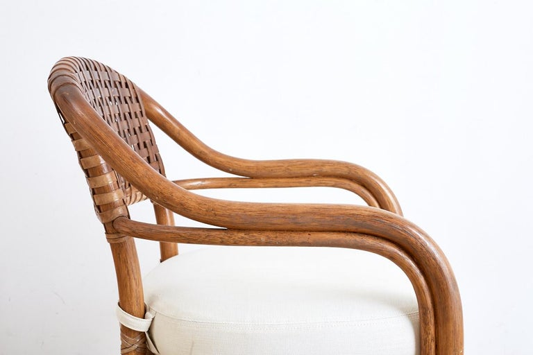 Pair of McGuire Bamboo and Woven Leather Armchairs 2