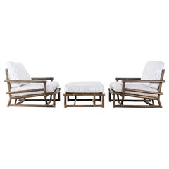 Pair of McGuire Bamboo Rattan Low Armchairs with Ottoman