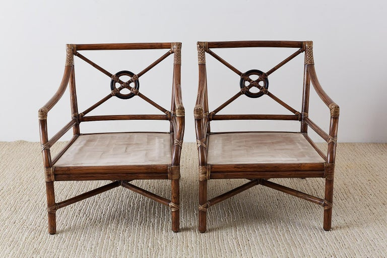 Pair of McGuire Bamboo Rattan Target Lounge Chairs For Sale 5