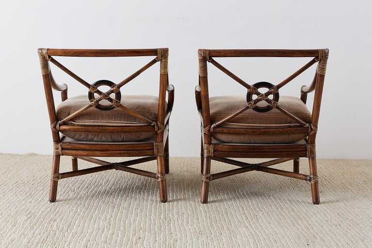 Pair of McGuire Bamboo Rattan Target Lounge Chairs For Sale 8