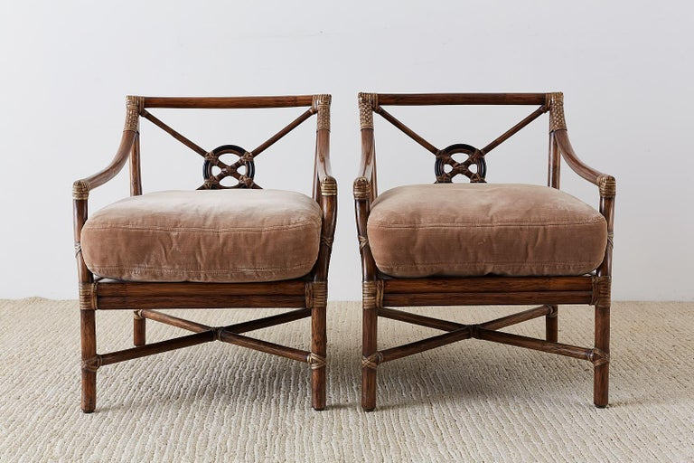 Organic Modern Pair of McGuire Bamboo Rattan Target Lounge Chairs For Sale