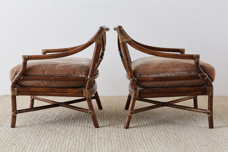 Hand-Crafted Pair of McGuire Bamboo Rattan Target Lounge Chairs For Sale