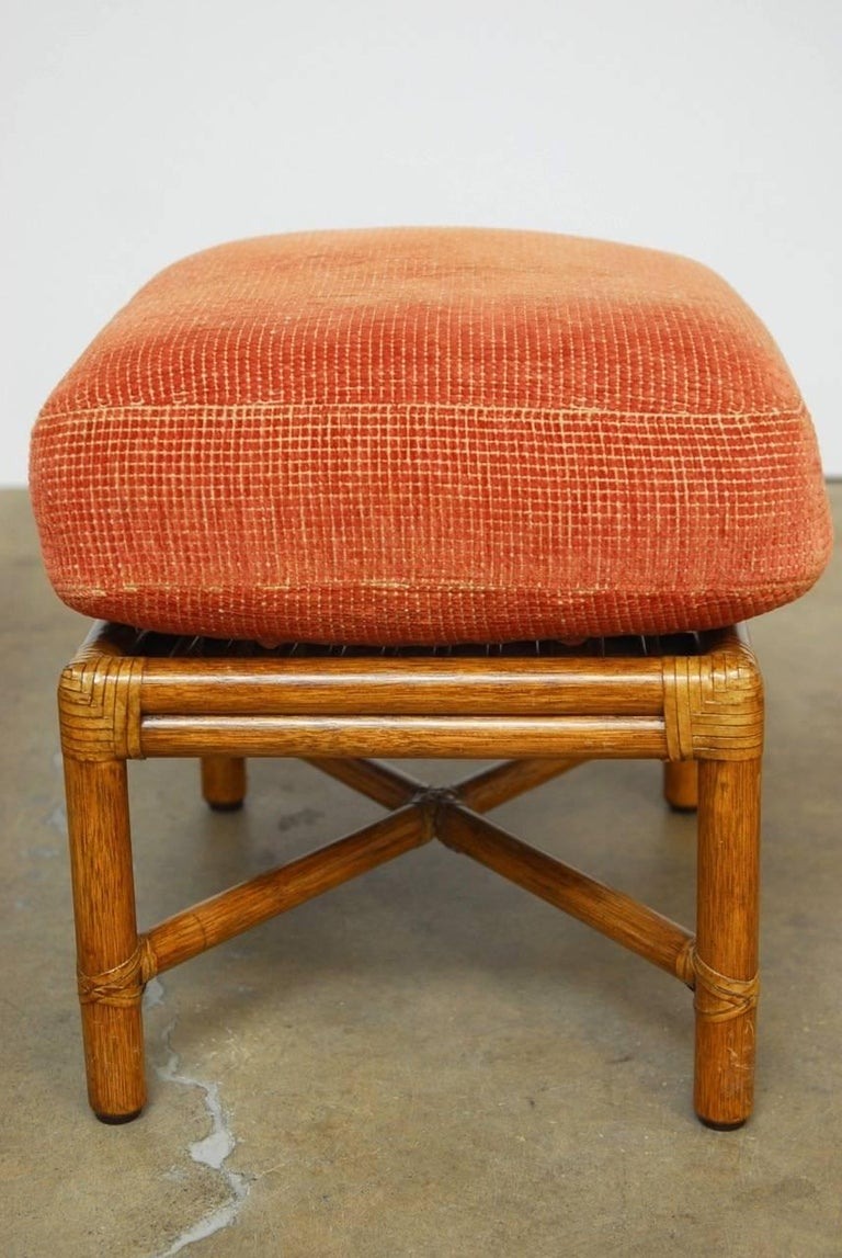 Pair Of Mcguire Bamboo Rattan Upholstered Ottomans At 1stdibs