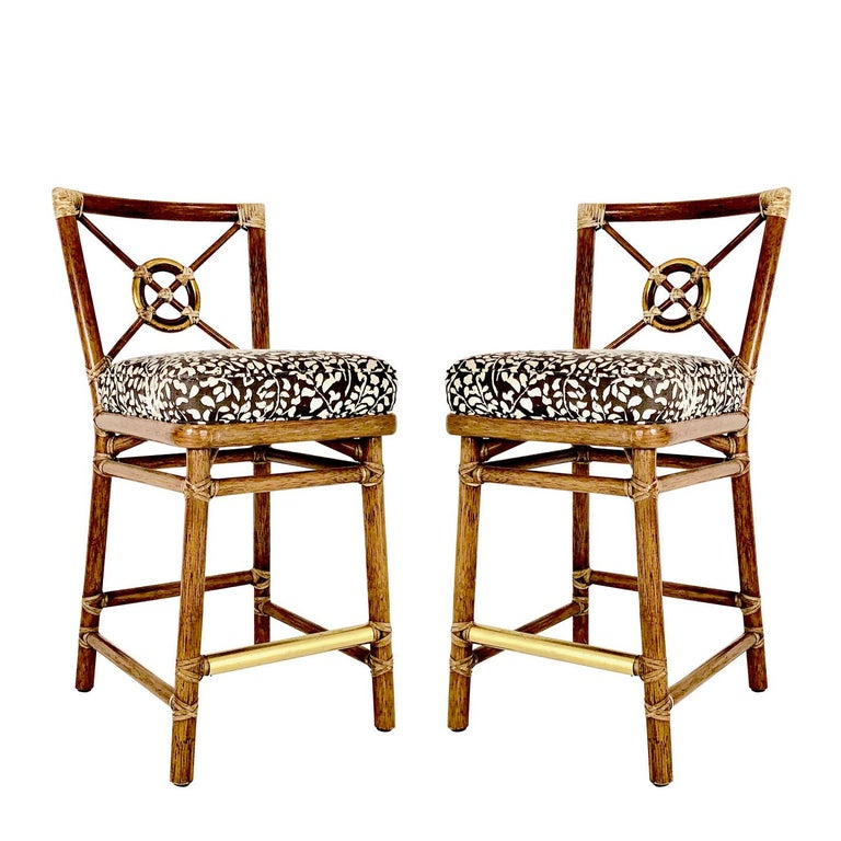 Pair Of Mcguire Bar Stools For Sale At 1stdibs