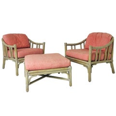 Pair of McGuire Lounge Chairs with Ottoman