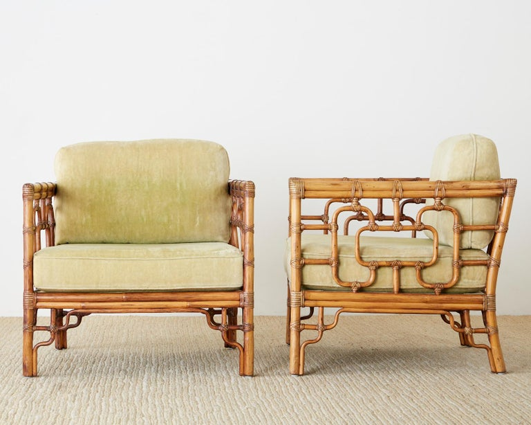 Pair of McGuire Marview Bamboo Rattan Cube Lounge Chairs For Sale 9