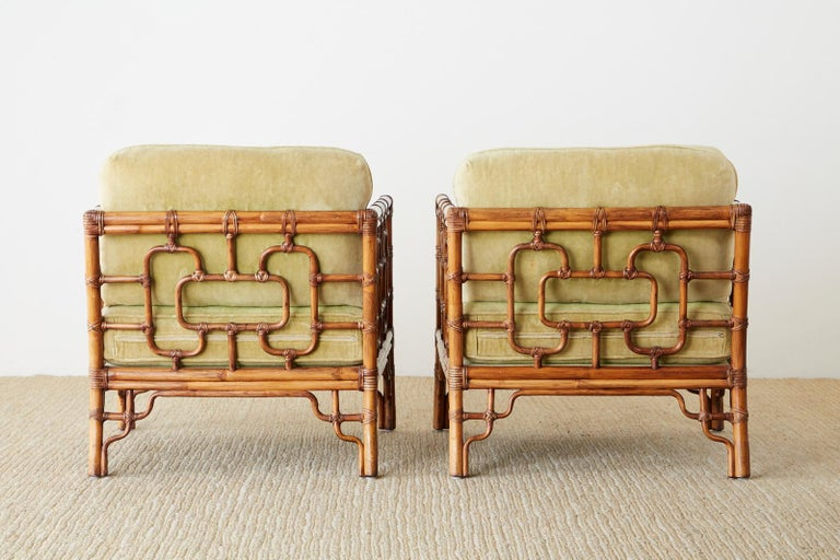 Pair of McGuire Marview Bamboo Rattan Cube Lounge Chairs For Sale 11
