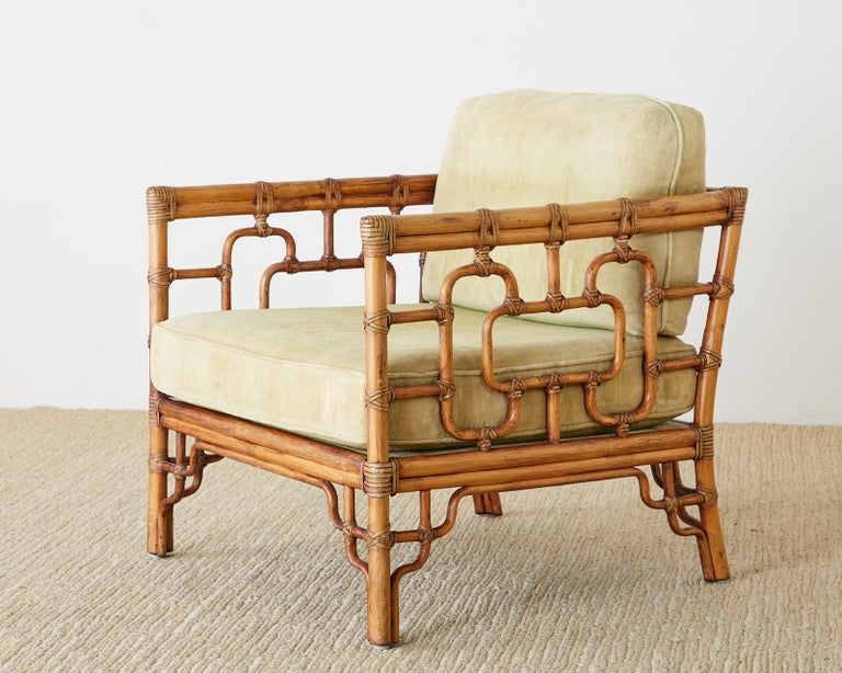 American Pair of McGuire Marview Bamboo Rattan Cube Lounge Chairs For Sale