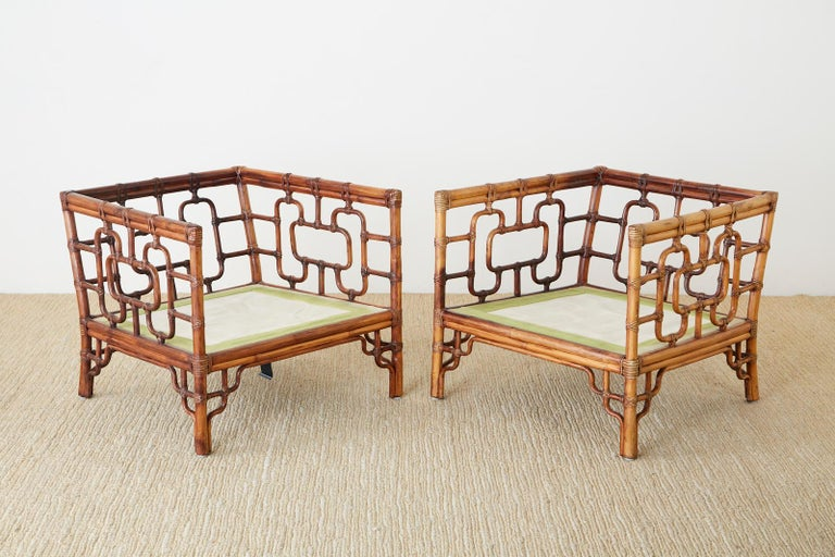 Hand-Crafted Pair of McGuire Marview Bamboo Rattan Cube Lounge Chairs For Sale