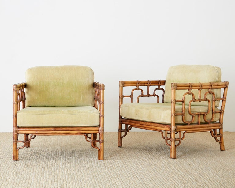 20th Century Pair of McGuire Marview Bamboo Rattan Cube Lounge Chairs For Sale
