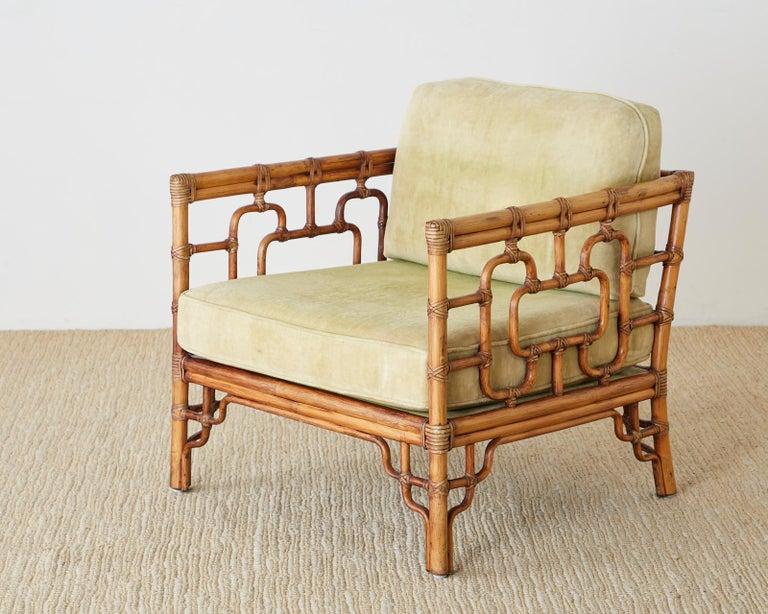 Pair of McGuire Marview Bamboo Rattan Cube Lounge Chairs For Sale 1