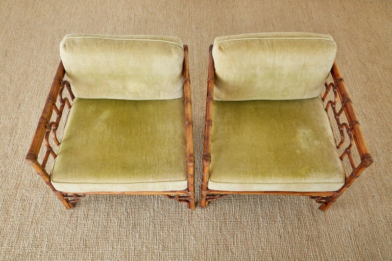 Pair of McGuire Marview Bamboo Rattan Cube Lounge Chairs For Sale 2