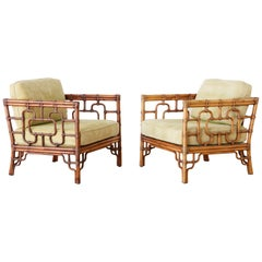 Pair of McGuire Marview Bamboo Rattan Cube Lounge Chairs