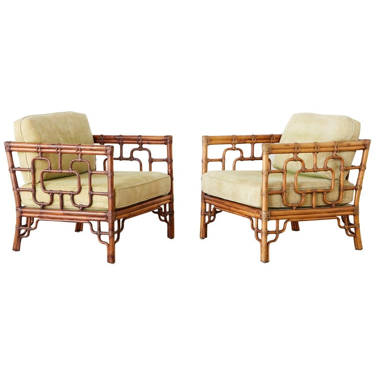 Pair of McGuire Marview Bamboo Rattan Cube Lounge Chairs For Sale