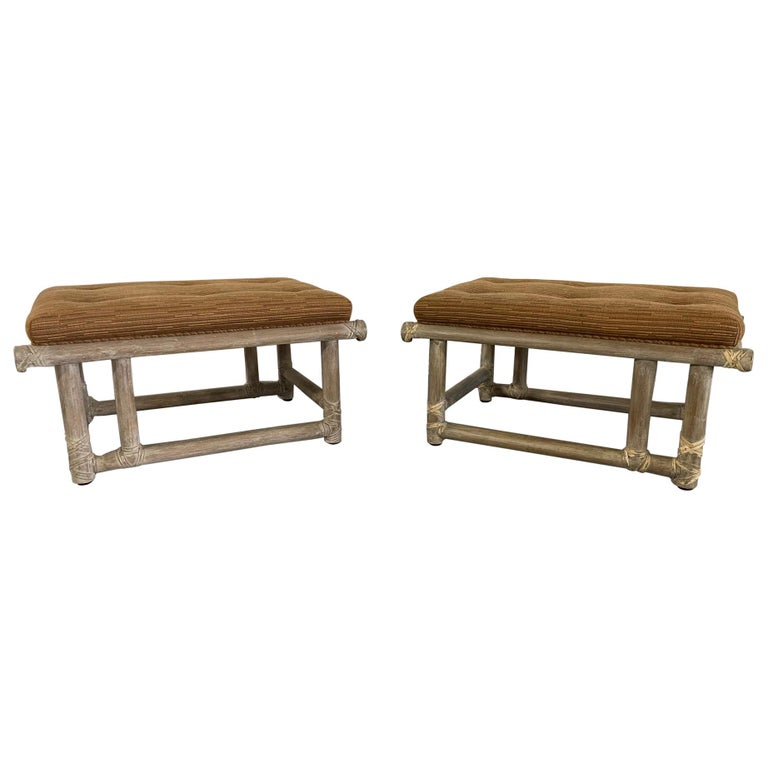 Pair of McGuire Mid-Century Lacquered Bamboo Ottomans or Foot Stools For Sale