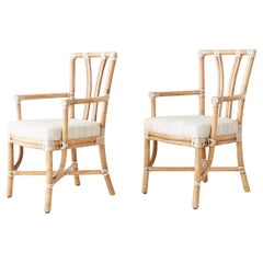 Pair of McGuire Organic Modern Bamboo Rattan Armchairs