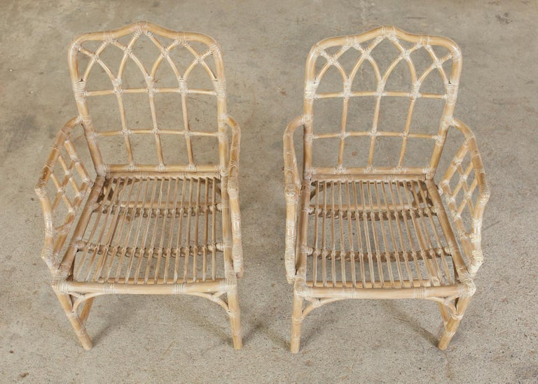 Pair of McGuire Organic Modern Bamboo Rattan Dining Armchairs For Sale 5