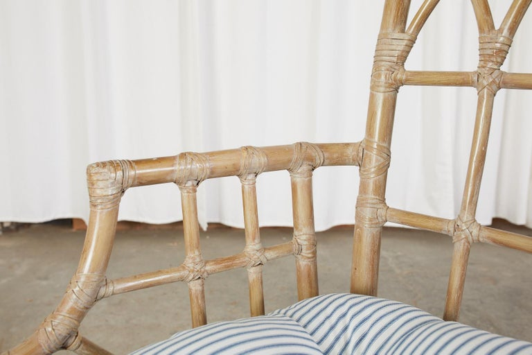 Pair of McGuire Organic Modern Bamboo Rattan Dining Armchairs For Sale 6