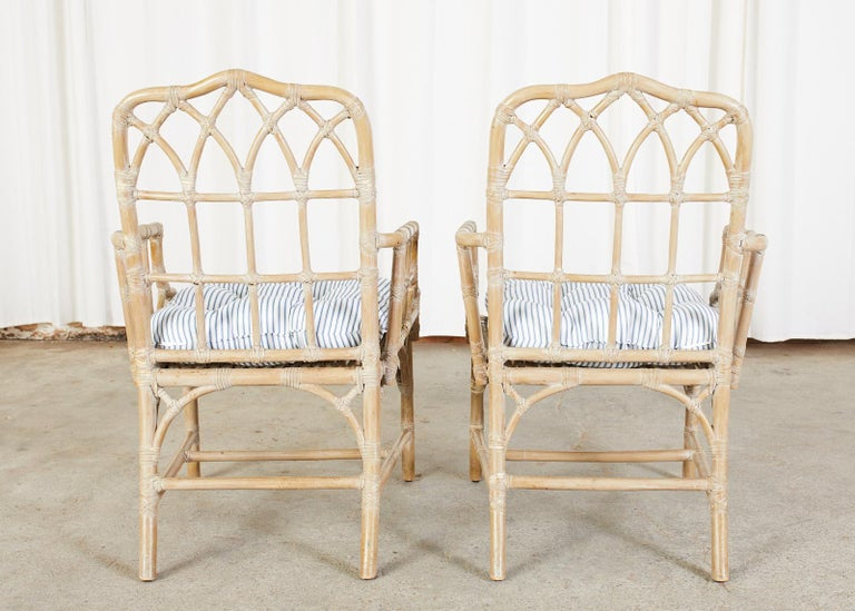 Pair of McGuire Organic Modern Bamboo Rattan Dining Armchairs For Sale 11