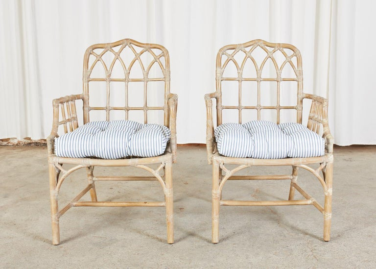 American Pair of McGuire Organic Modern Bamboo Rattan Dining Armchairs For Sale