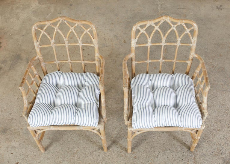 Hand-Crafted Pair of McGuire Organic Modern Bamboo Rattan Dining Armchairs For Sale