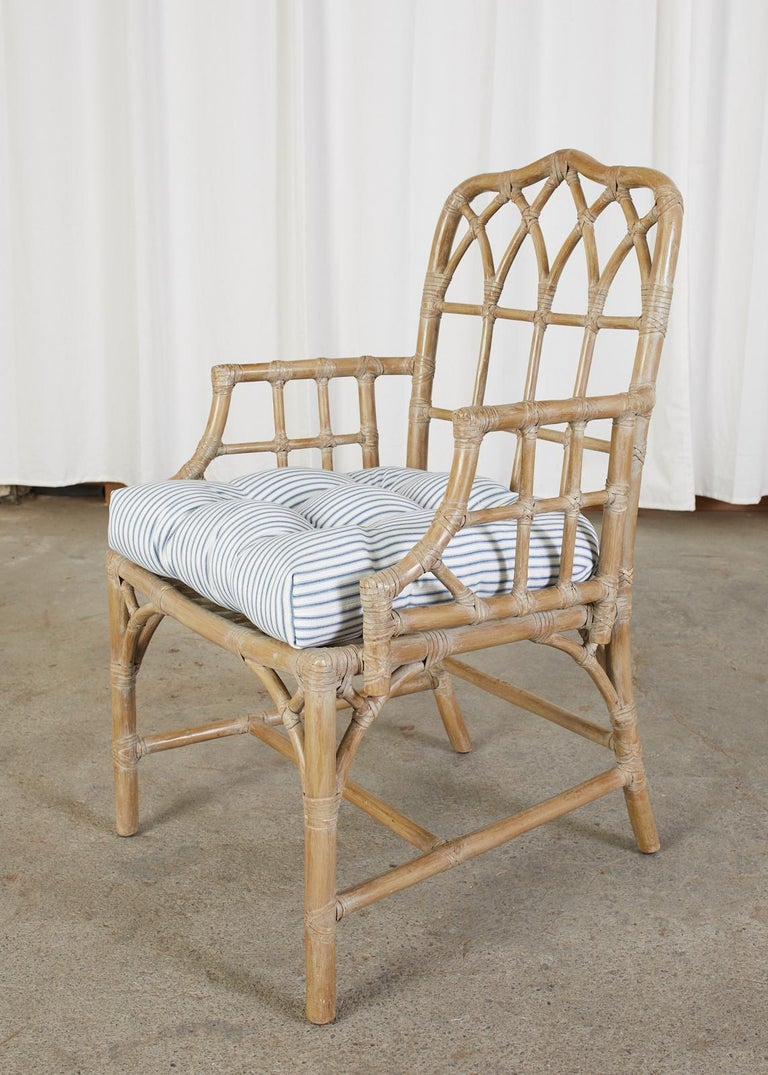 Pair of McGuire Organic Modern Bamboo Rattan Dining Armchairs In Good Condition For Sale In Rio Vista, CA