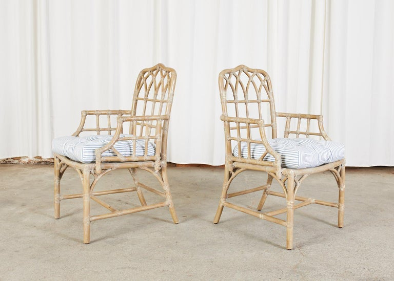 20th Century Pair of McGuire Organic Modern Bamboo Rattan Dining Armchairs For Sale