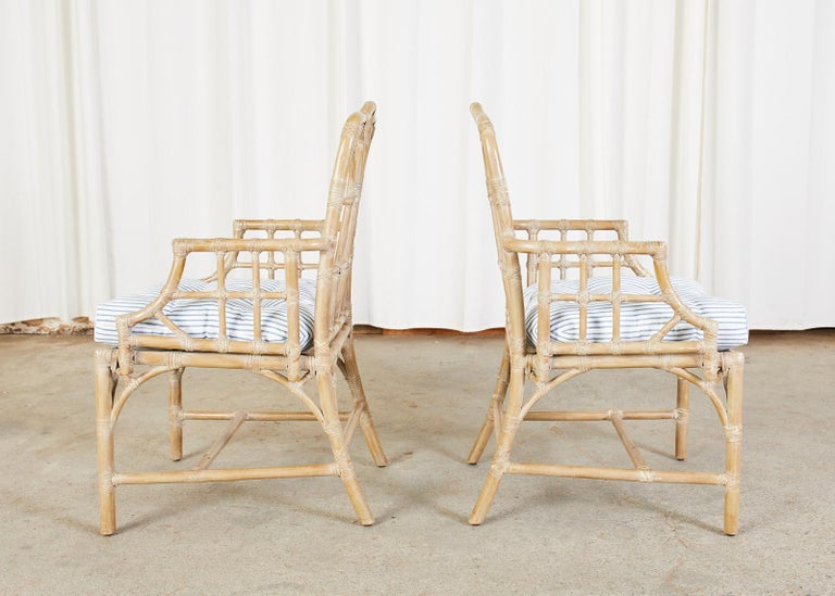 Pair of McGuire Organic Modern Bamboo Rattan Dining Armchairs For Sale 2