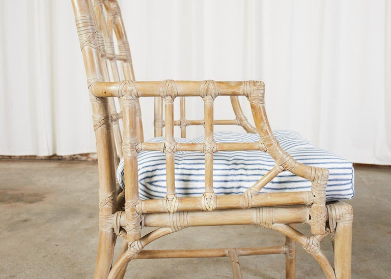 Pair of McGuire Organic Modern Bamboo Rattan Dining Armchairs For Sale 3