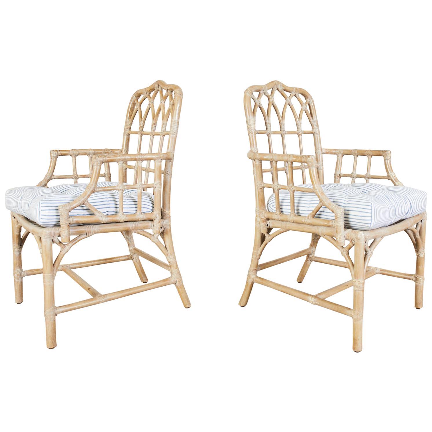Pair of McGuire Organic Modern Bamboo Rattan Dining Armchairs