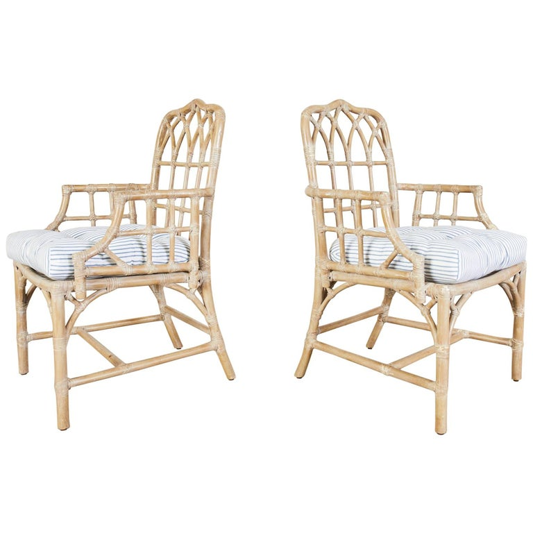 Pair of McGuire Organic Modern Bamboo Rattan Dining Armchairs For Sale