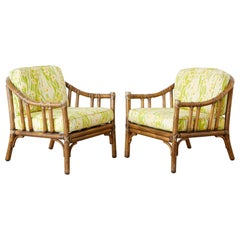 Pair of McGuire Organic Modern Bamboo Rattan Lounge Chairs