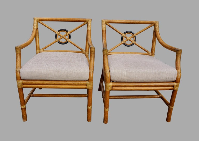 Pair of McGuire Organic Modern Rattan and Leather Upholstered Armchairs For Sale 6