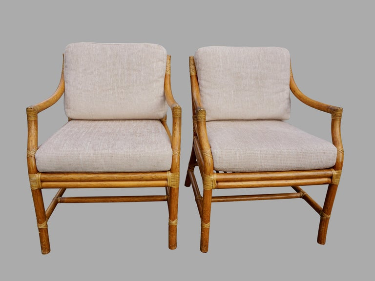 20th Century Pair of McGuire Organic Modern Rattan and Leather Upholstered Armchairs For Sale