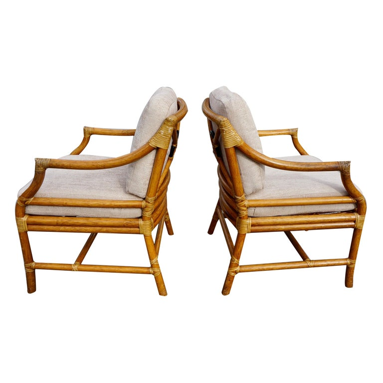 Pair of McGuire Organic Modern Rattan and Leather Upholstered Armchairs For Sale
