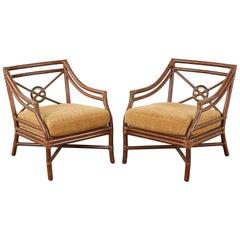 Pair of McGuire Organic Modern Rattan Target Lounge Chairs