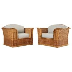 Pair of McGuire Organic Modern Rattan Wicker Lounge Chairs