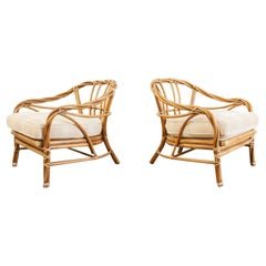 Pair of McGuire Organic Modern Twisted Rattan Lounge Chairs