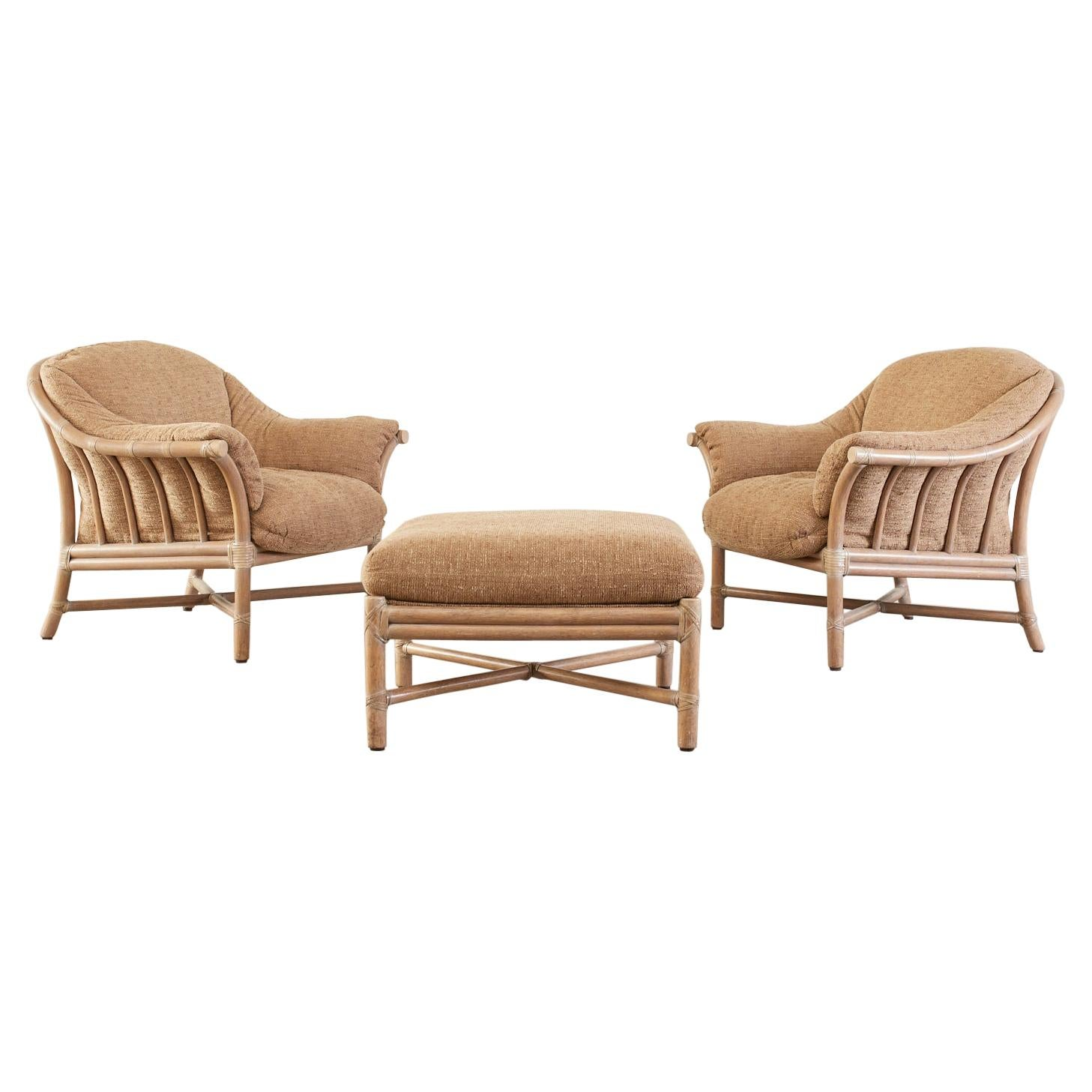 Pair of McGuire Oversized Cerused Rattan Lounge Chairs & Ottoman