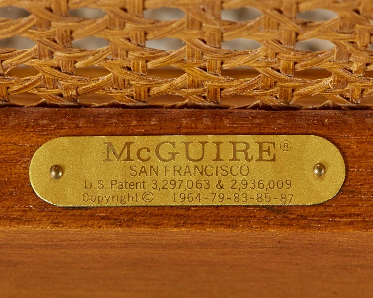 Pair of McGuire Rattan and Cane Upholstered Lounge Chairs For Sale 8