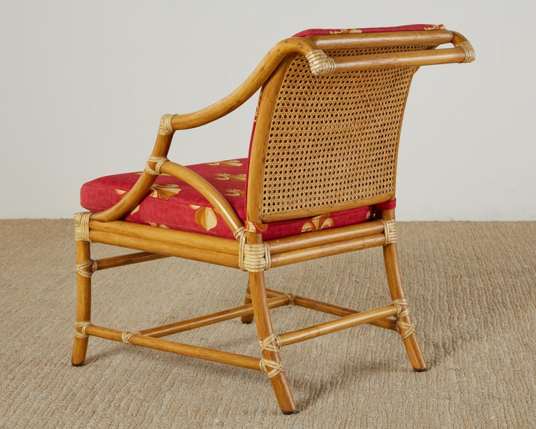 Pair of McGuire Rattan and Cane Upholstered Lounge Chairs For Sale 9