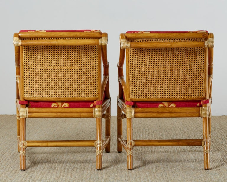 Pair of McGuire Rattan and Cane Upholstered Lounge Chairs For Sale 12