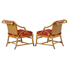 Pair of McGuire Rattan and Cane Upholstered Lounge Chairs