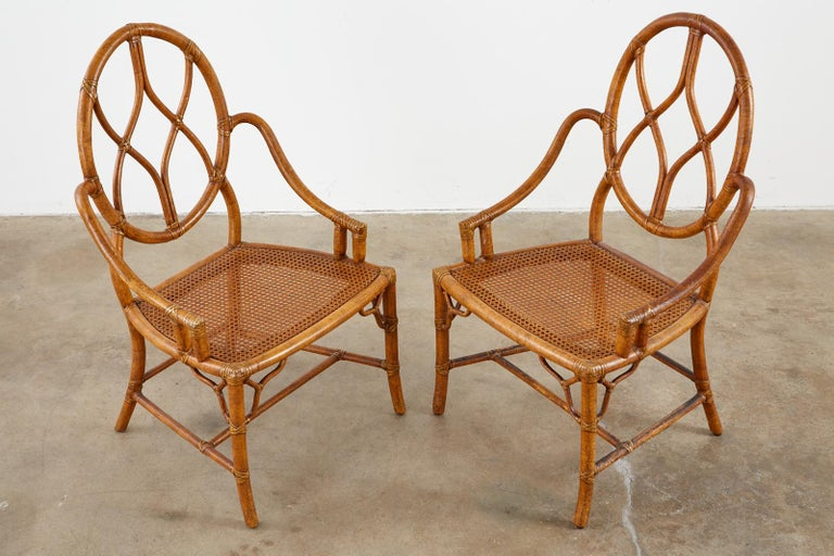 Pair of McGuire Rattan Cane Organic Modern Dining Chairs For Sale 8